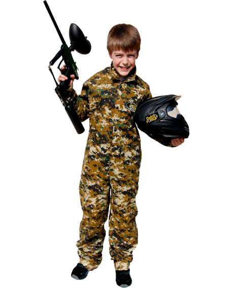 Boy In Delta Force Kit Holding Paintball Gun
