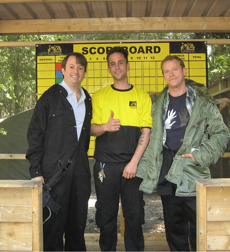 Peep Show Actors with Paintball Centre Manager