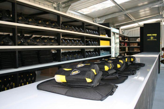 Delta Force Paintball battlepacks in equipment store