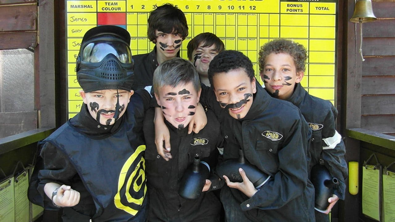 Group of Kids in Paintball Basecamp