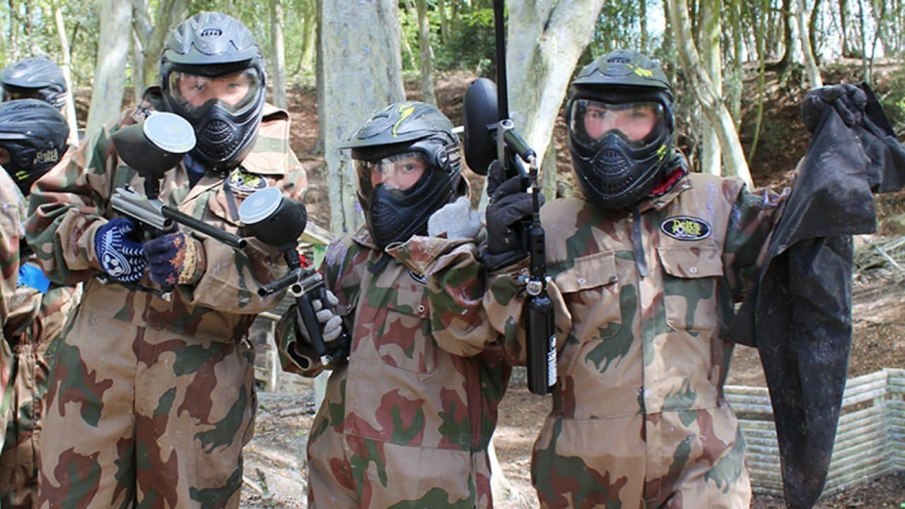 mini players at delta force paintball game zone