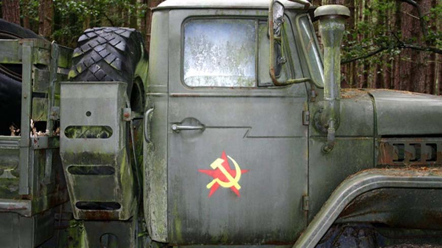 Military Vehicle With Soviet Logo At Convoy Attack