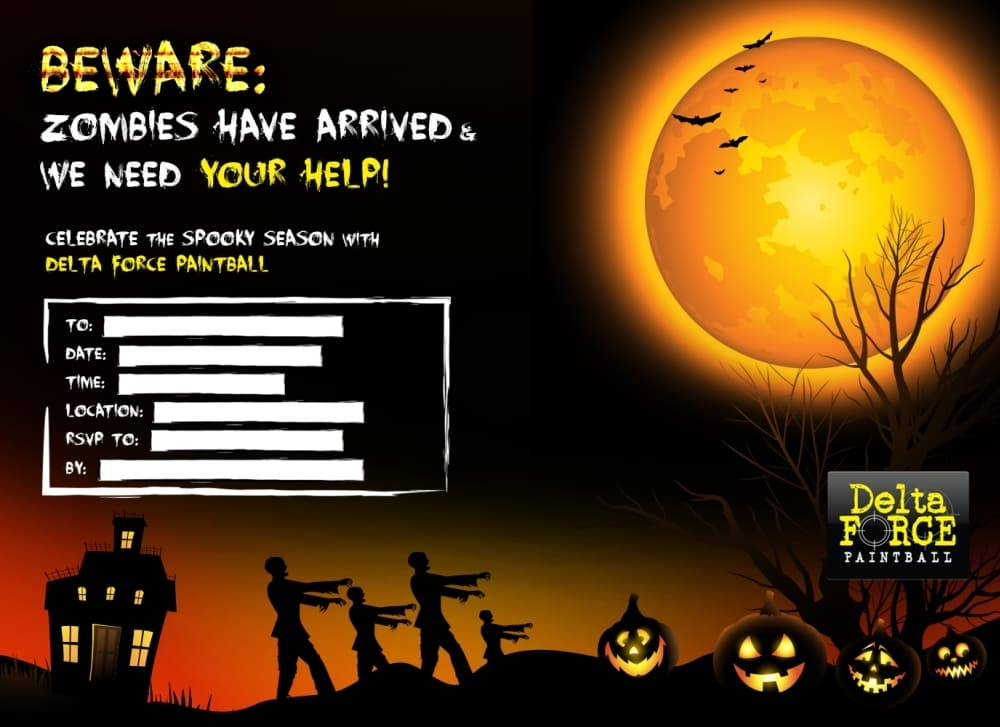 Zombie Themed Delta Force Paintball Invitation Form