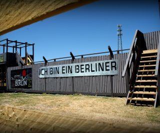 'Ich bin ein Berliner' lines side of Berlin Wall
