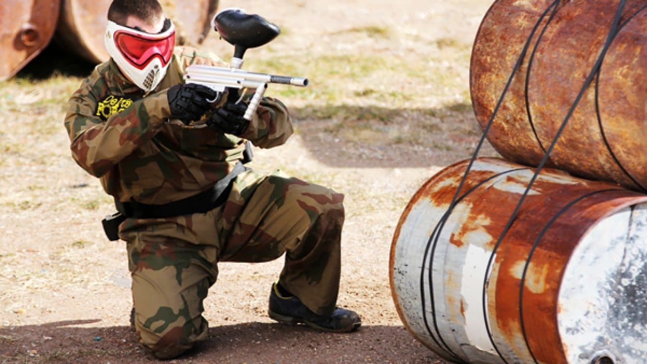 Delta Force Player In Red Mask Fires From Barrel