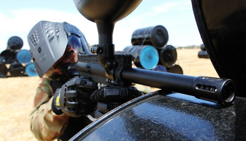 Delta Force Player Looking Down The Side Of Paintball Gun