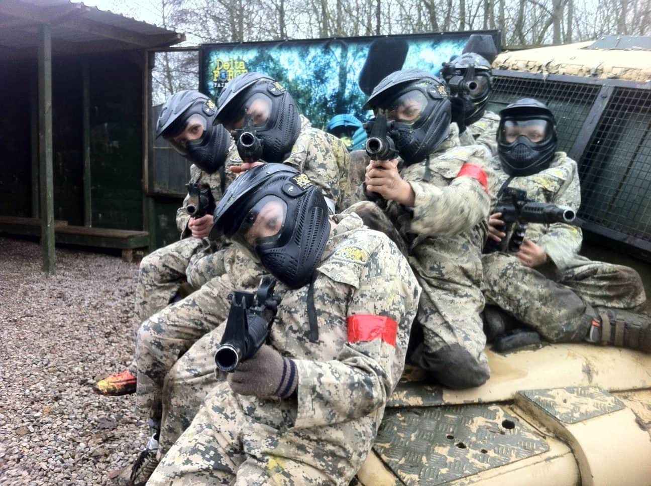 Kids with Paintball Guns in Southampton Paintball Centre