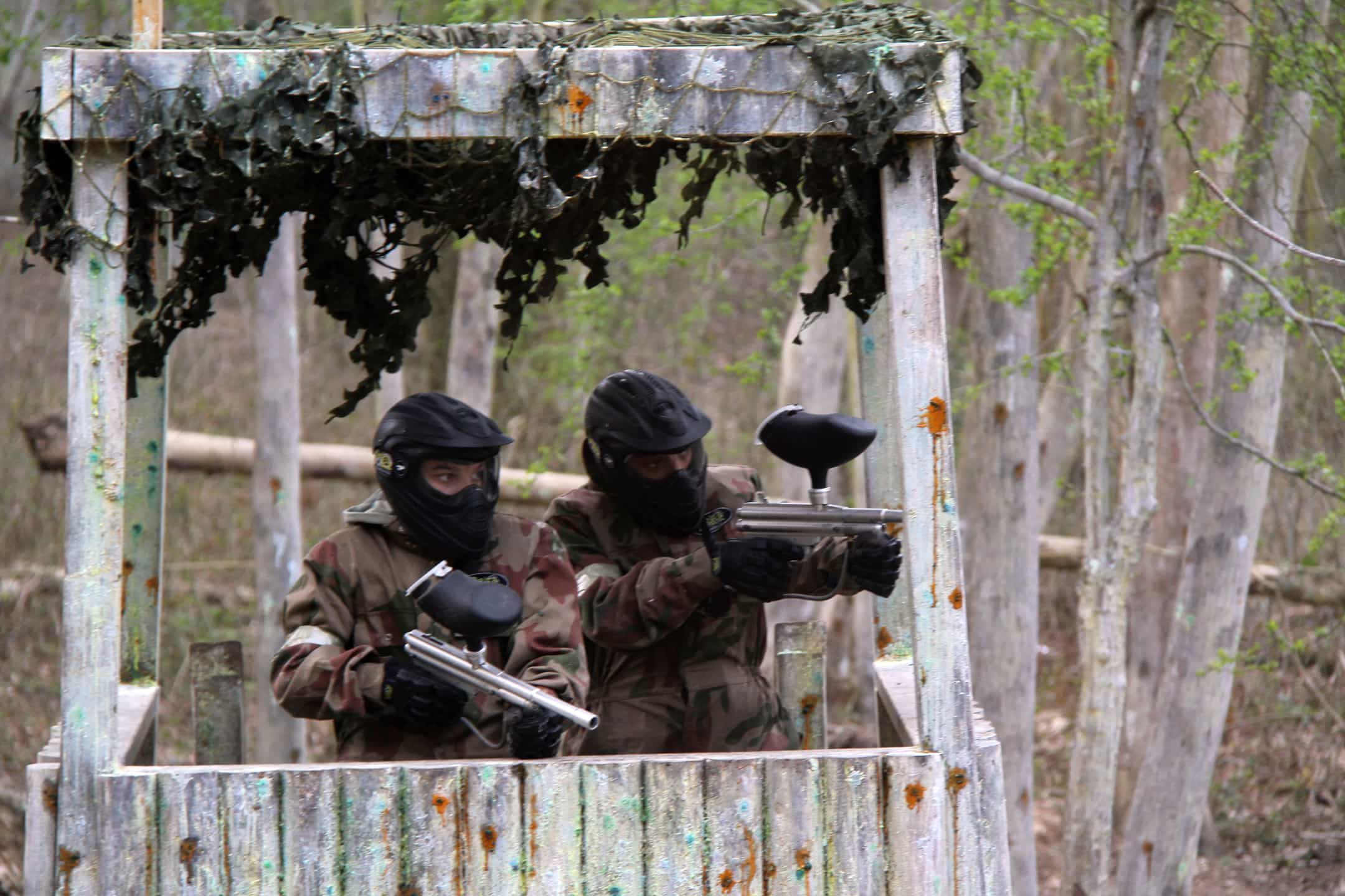 Two Kids In Guard Tower at Paintball Cardiff