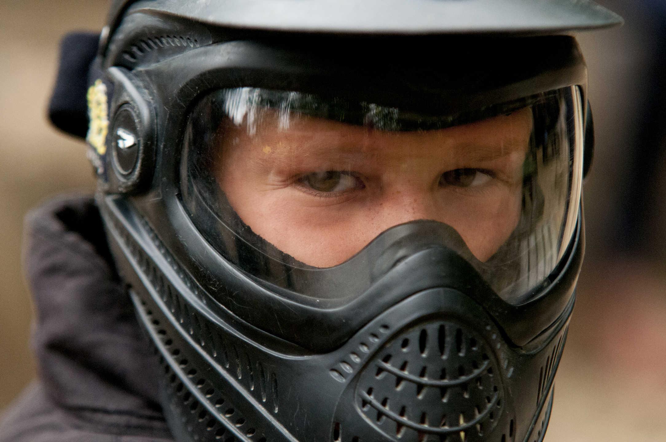 Boy Wearing Delta Force Paintball Helmet