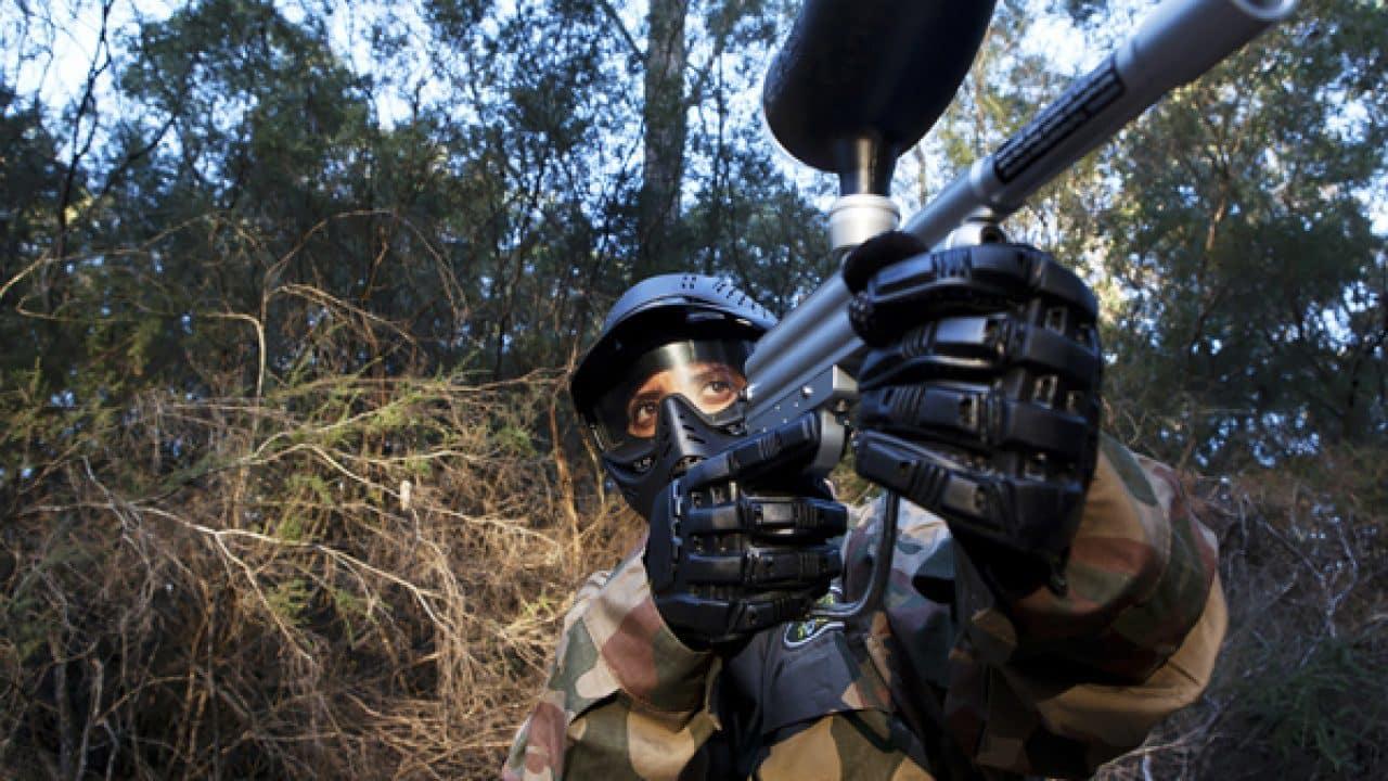 Delta Force Player In Woods Raises Paintball Gun