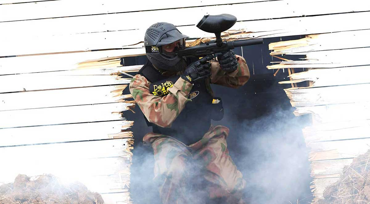 Delta Force Player In Paintball Kit Holding Gun