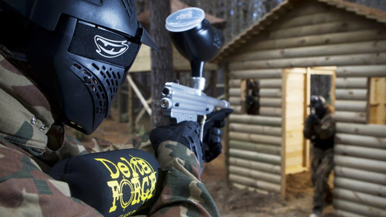 Delta Force Paintball Player Point Of View Shooting Enemy