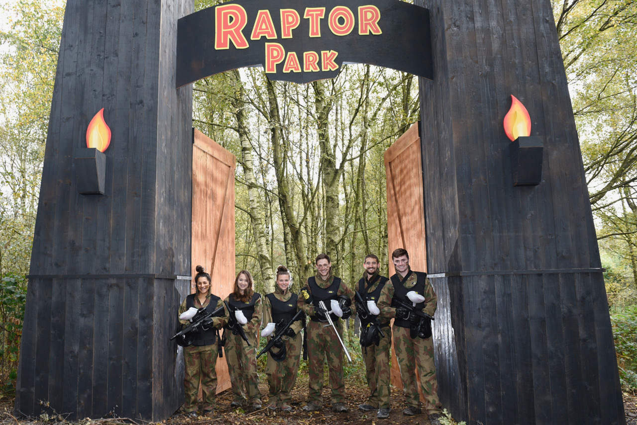 Players under entrance to Raptor Park