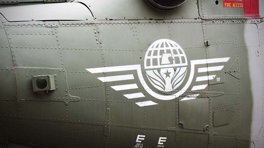 Logo painted on side of Delta Force's Black Hawk helicopter