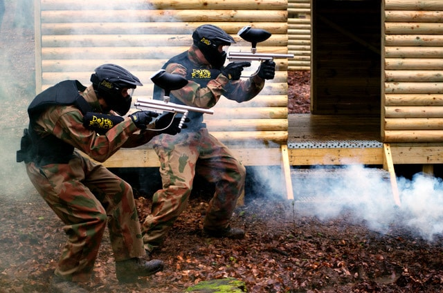 Two Paintball Players in Vietcong Village Game Zone