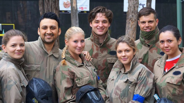 Guys and Girls Smiling at Paintball Base Camp