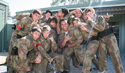 Kids Posing in the Paintball Centre Base Camp