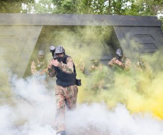 Delta Force Players Surrounded By Smoke At Space Warz