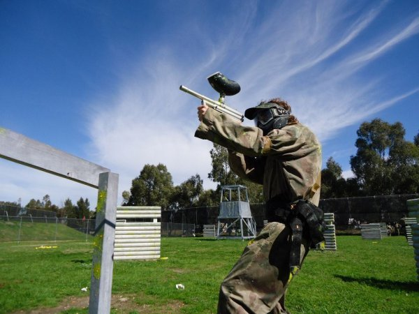 Paintball Player On Game Zone Blue Sky