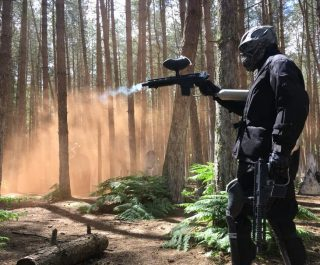 Terminator in action at Delta Force paintball game zone