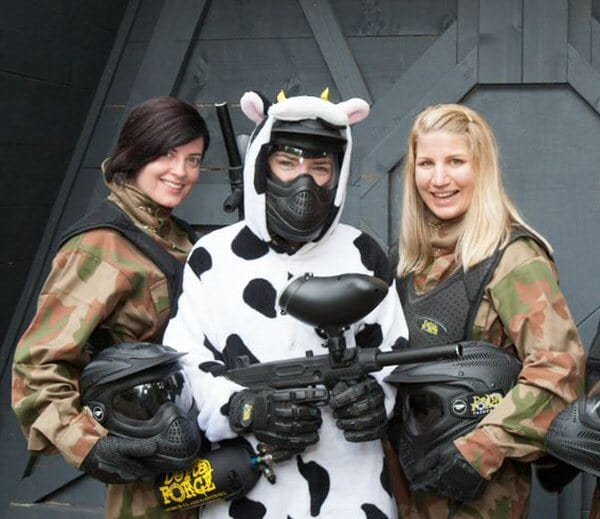 Three Girls at Hen Paintball Party