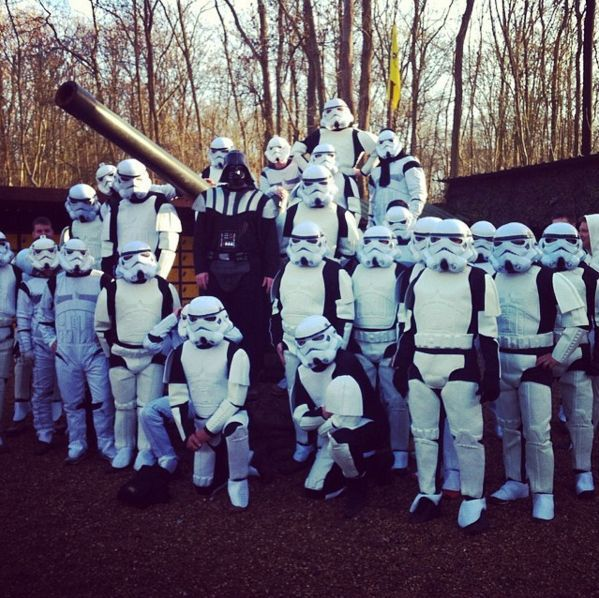 Darth Vader and Stormtroopers assemble at Paintball Base Camp