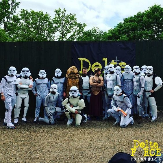 Jabba the Hutt, Princess Leia, and Stormtroopers at Paintball base camp