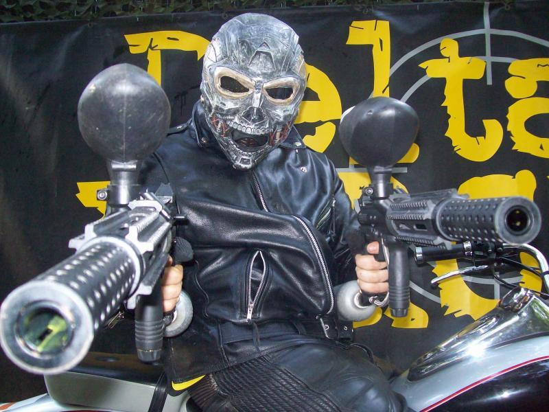 Paintball Terminator Sitting on a Bike