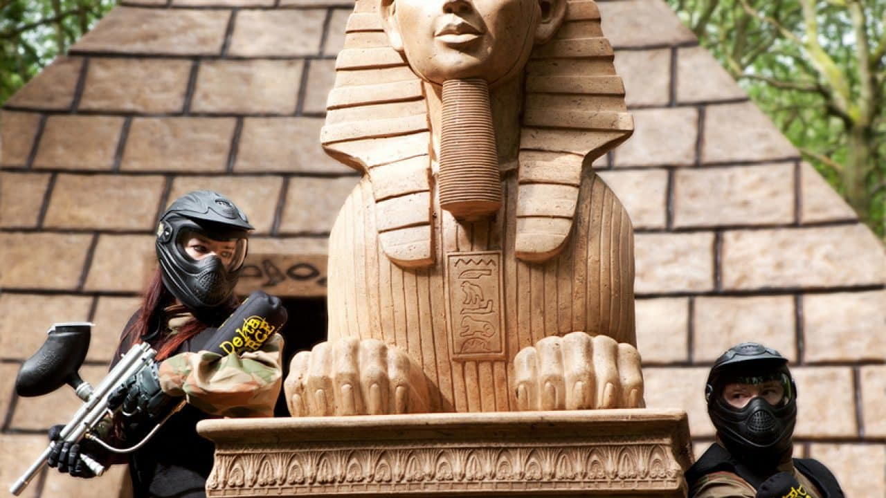 Delta Force Paintball Players Use Pharaoh As Cover