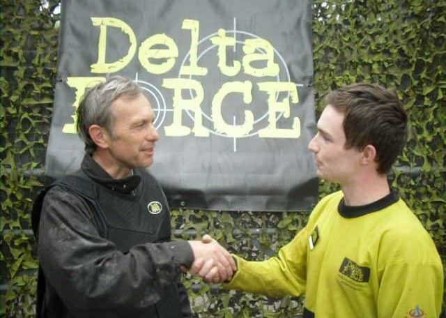 David Crellin at Delta Force Paintball Shaking Hand with Paintball Manager