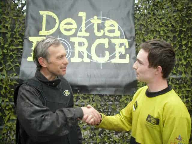 David Crellin Shaking Hands With Delta Force Paintball Staff