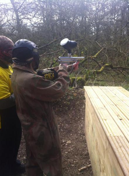 BBC Treasure Quest presenter at shooting range