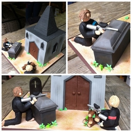 The Crypt paintball birthday cake
