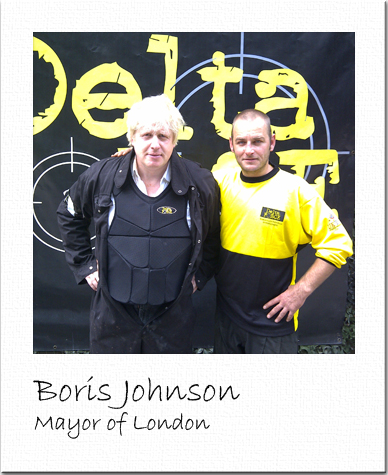 Boris Johnson at Delta Force Paintball