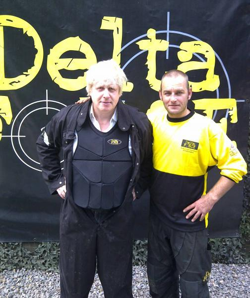 Boris Johnson with marshal