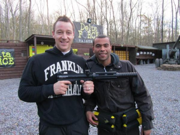 John Terry and Ashley Cole with M16