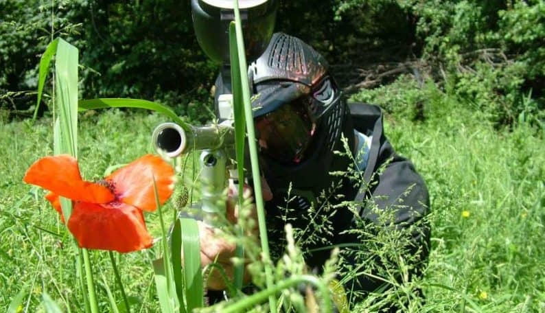 Paintball Player with a Poppy