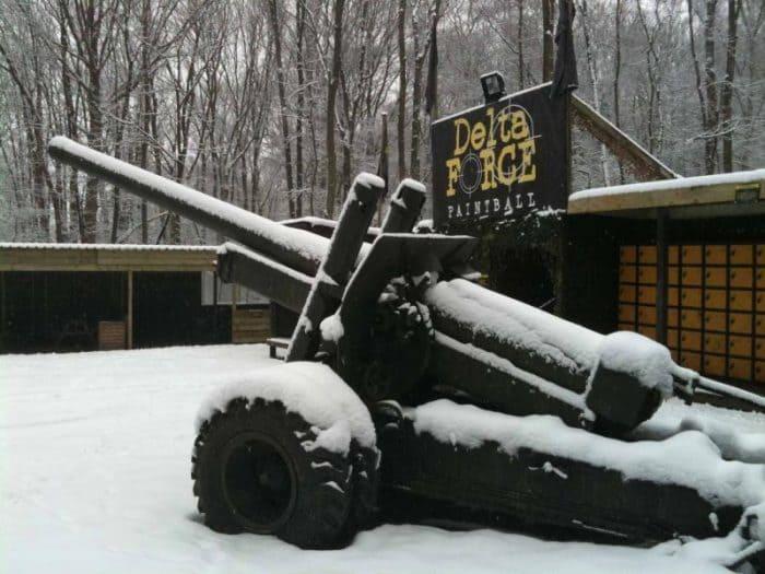 Howitzer gun buried in snow