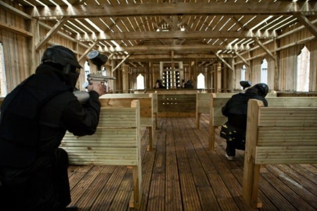 Players in the Crypt at Paintball Essex