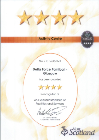 Four stars Delta Force Glasgow, Visit Scotland