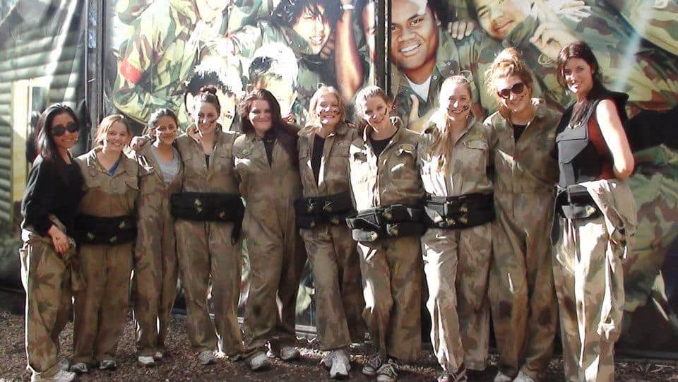 Group Of Girls Dressed In Delta Force Kit At Base Camp