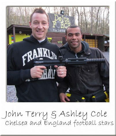 John Terry and Ashley Cole with Paintball Gun