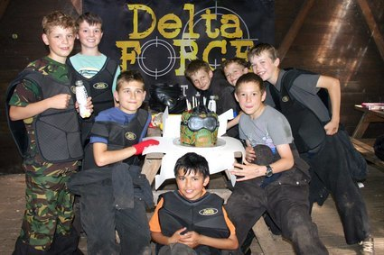 Kids paintball birthday party at base camp