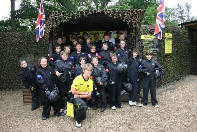 Kids Victory Posing at Paintball Base Camp