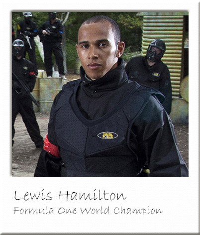Lewis Hamilton at Delta Force Paintball