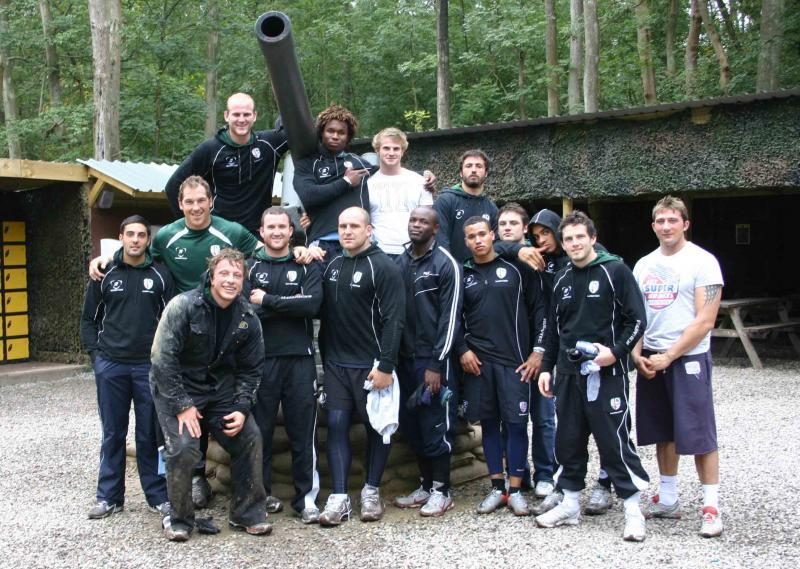London Irish rugby team pose at base camp