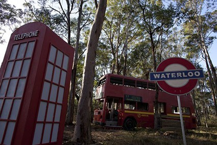 Waterloo sign, telephone box, and bus in London Apocalypse