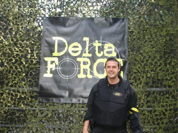 Paddy McGuinness with Delta Force logo