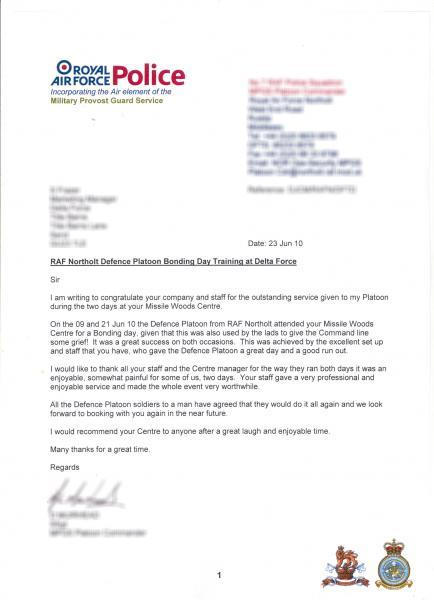 RAF letter of thanks to Delta Force