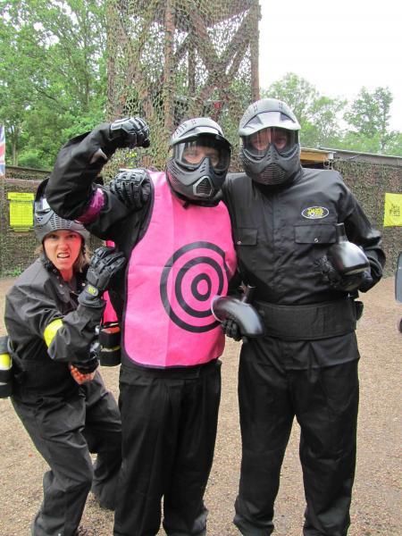Player models pink target vest